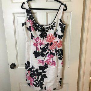 Lilly Pulitzer Dress Metallic Cotton Beaded Sz 10